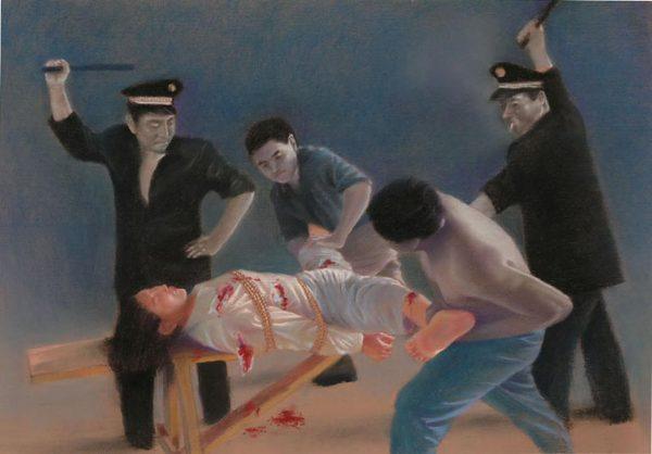 Reenactment of sexual torture.
