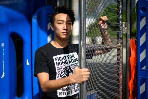 Jimmy Sham, convener of the Civil Human Rights Front (CHRF), poses during an interview with AFP in Hong Kong.