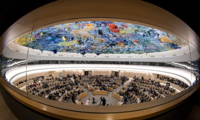 A picture taken on June 26, 2019 shows a general view of the United Nations Human Rights Council room during a debate on the report of (UN) special rapporteur on extrajudicial, summary or arbitrary executions of the killing of Saudi journalist Jamal Khashoggi in Geneva. FABRICE COFFRINI/AFP/Getty Images