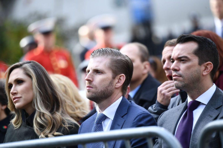 Eric Trump (C) and his wife Lara