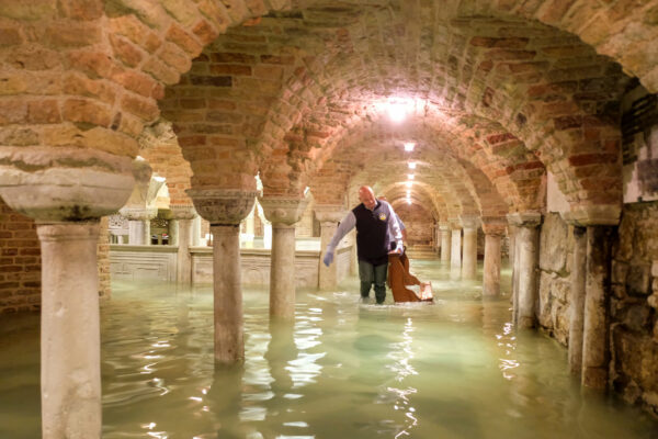 The flooded crypt of St Mark's Basilica is pictured during an exceptionally high water levels in Venice