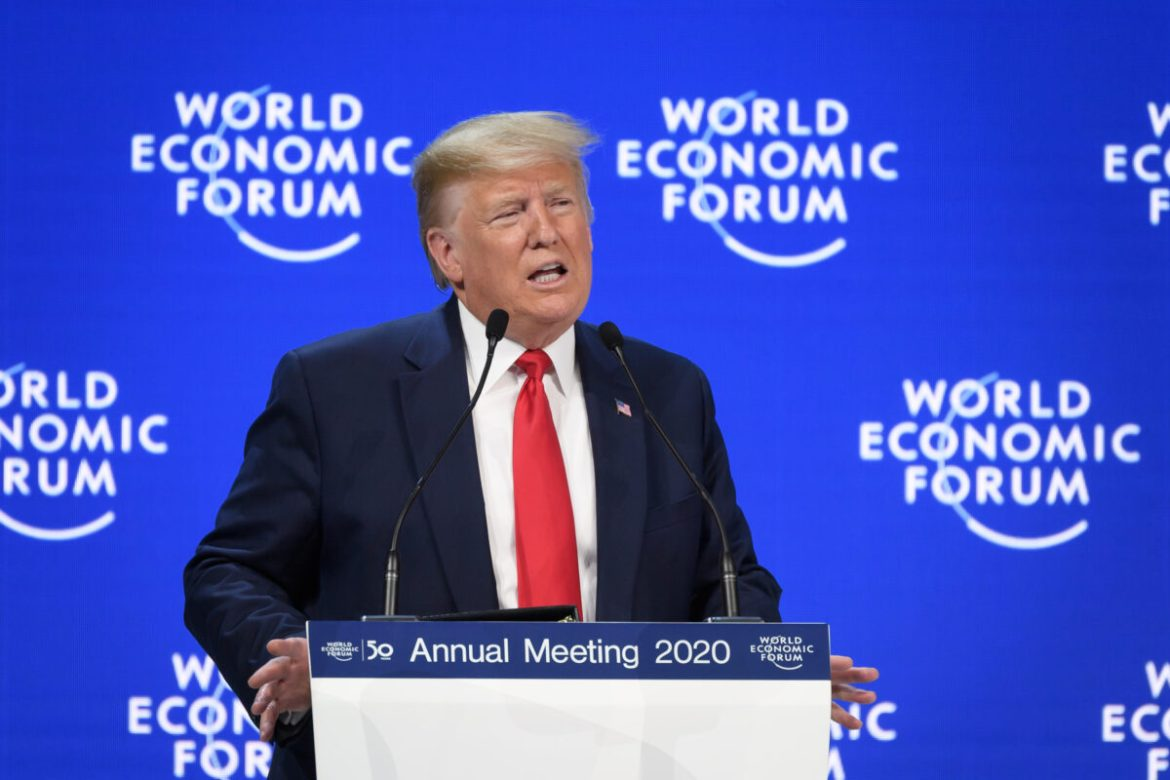 President Donald Trump delivers a speech at the Congres Center during the World Economic Forum
