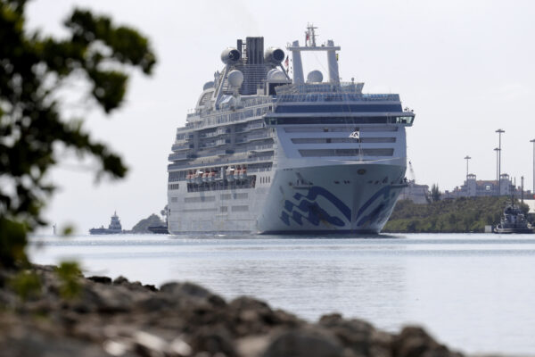 The Coral Princess cruise ship arrives at PortMiami during the new coronavirus outbreak