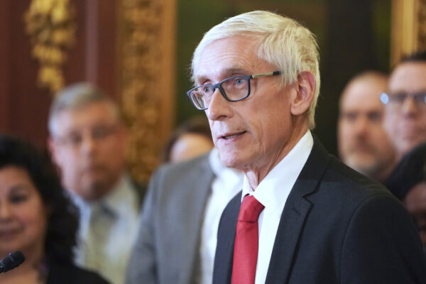 Wisconsin Gov. Tony Evers holds a press conference in Madison,