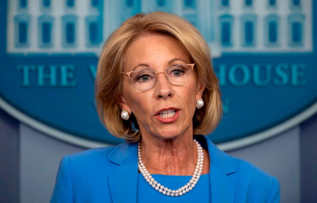 Secretary of Education Betsy Devos speaks during a White House briefing in Washington on March 27, 2020. (Jim Watson/AFP via Getty Images)