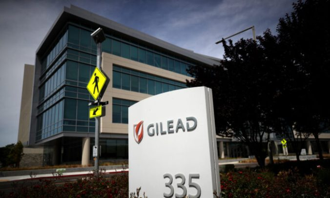 A sign is posted in front of the Gilead Sciences headquarters in Foster City, Calif., on April 29, 2020. (Justin Sullivan/Getty Images)