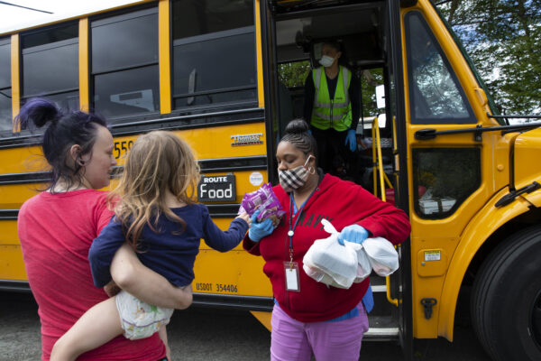 Seattle School Bus Delivers Lunches To Kids During Coronavirus Shutdown