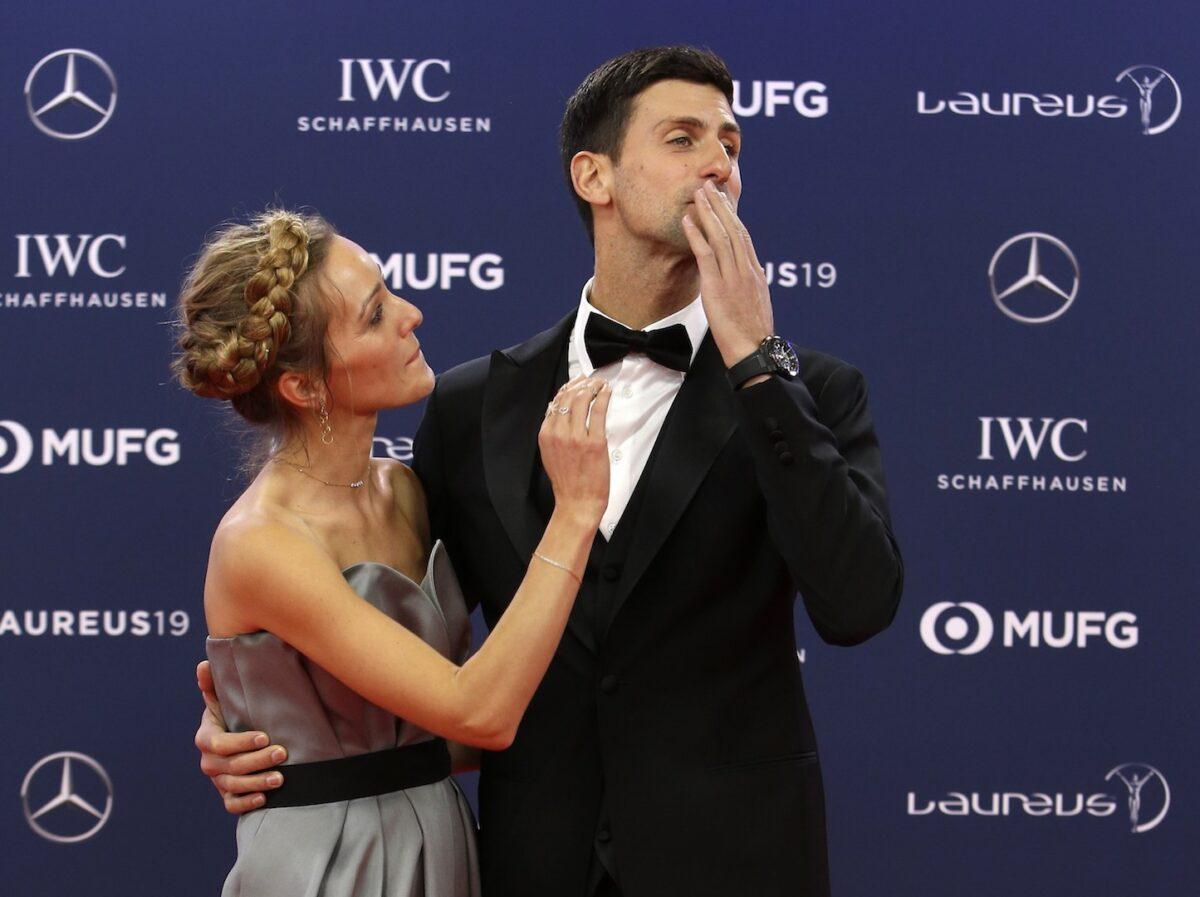 Serbian tennis player Novak Djokovic and his wife Jelena