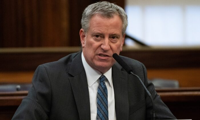 New York City Mayor Bill de Blasio speaks during a news conference in Manhattan, N.Y., on March 17, 2020. (Jeenah Moon/Reuters)
