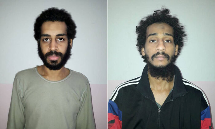 A combination picture shows Alexanda Kotey and Shafee Elsheikh, who the Syrian Democratic Forces claim are British nationals, in these undated handout pictures in Amouda, Syria released, on Feb. 9, 2018. (Syrian Democratic Forces/Handout via Reuters)