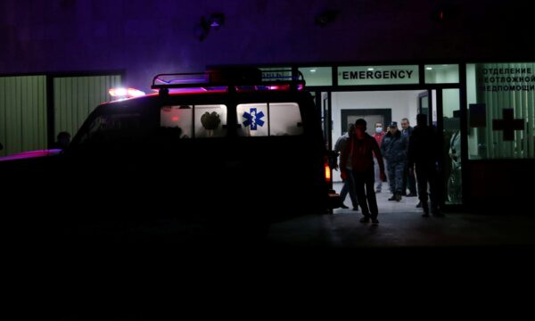 An ambulance is seen at the entrance of a hospital in Stepanakert