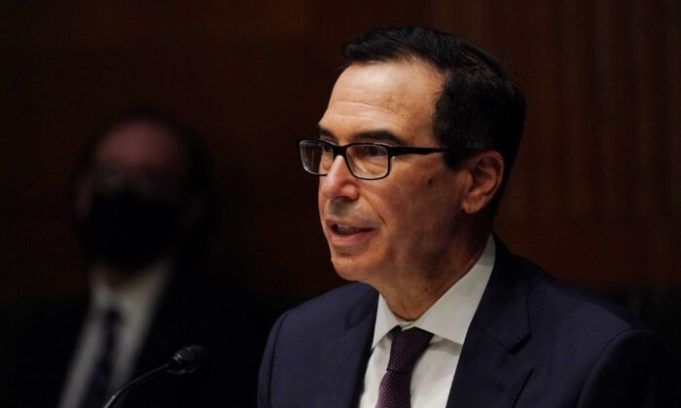 Treasury Secretary Steven T. Mnuchin speaks during the Senate's Committee on Banking, Housing, and Urban Affairs hearing examining the quarterly CARES Act report to Congress, in Washington, on Sept. 24, 2020. (Toni L. Sandys/Pool via Reuters)