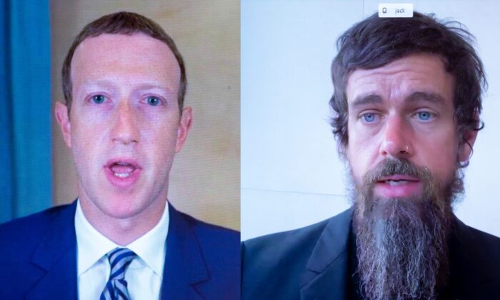 A combined image showing Facebook CEO Mark Zuckerberg (L) and Twitter CEO Jack Dorsey testify remotely before Congress on Oct. 28, 2020. (Michael Reynolds/Pool/AFP via Getty Images)
