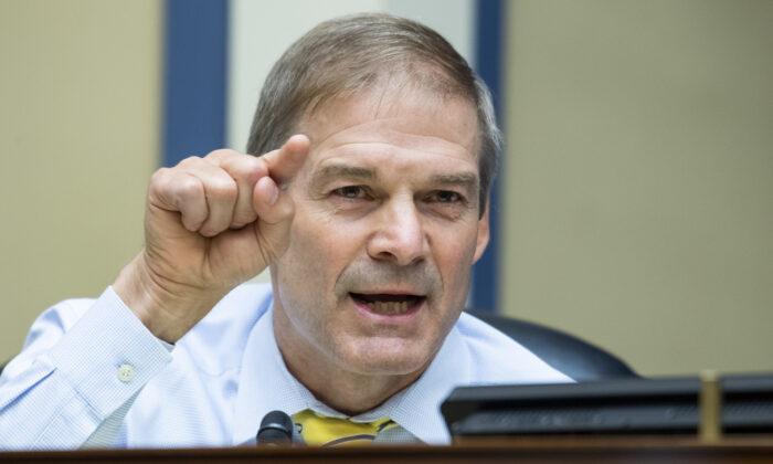 Rep. Jim Jordan (R-Ohio) during a House Oversight and Reform Committee hearing on Capitol Hill, Wasington, on Aug. 24, 2020. (Tom Williams/CQ Roll Call/Pool)