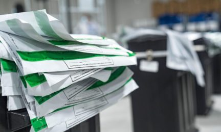 Envelopes that had previously held ballots in Gwinnett county as workers begin their recount of the ballots in Lawrenceville, Ga., on Nov. 13, 2020. (Megan Varner/Getty Images)