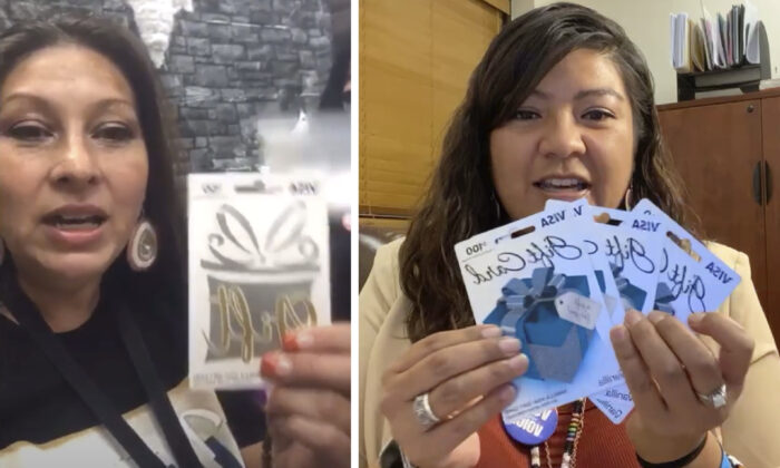 "(Left) LaCarrie McCloud announces the names of five winners of a $50 raffle ""that the Nevada Native Vote Project did today for all those voters who walked in and voted today."" (Right) Bethany Sam, the public relations officer for the Reno-Sparks Indian Colony, holding up four $100 Visa gift cards as part of a ""virtual raffle"" for people who prove they voted. (Screenshot/The Epoch Times)"