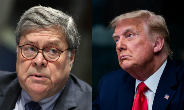 Attorney General William Barr, left, and President Donald Trump in file photographs. (Getty Images)
