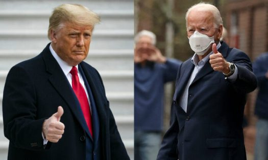 President Donald Trump, left, and Democratic presidential candidate Joe Biden in file photographs. (Getty Images)