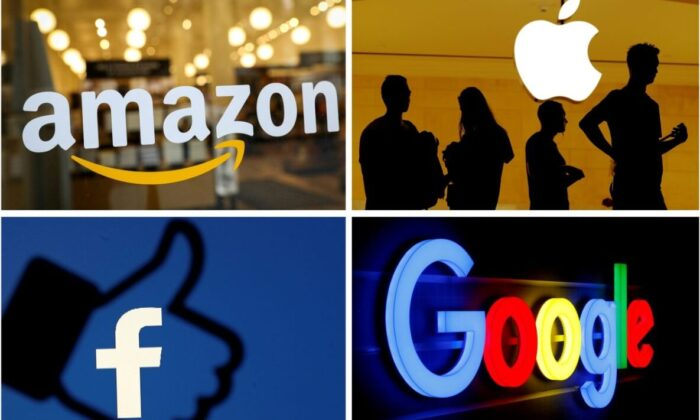 The logos of Big Tech companies Amazon, Apple, Facebook, and Google, in file photos. (Reuters)