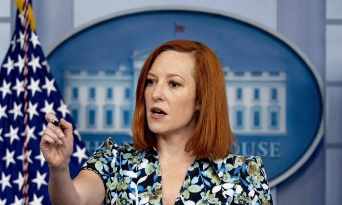White House press secretary Jen Psaki calls on a reporter during a press briefing in the White House in Washington on April 16, 2021. (Andrew Harnik/AP Photo)