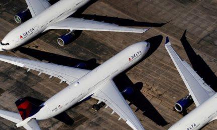 Delta Air Lines planes are seen at Birmingham-Shuttlesworth International Airport in Birmingham, Ala., on March 25, 2020. (Elijah Nouvelage/Reuters)