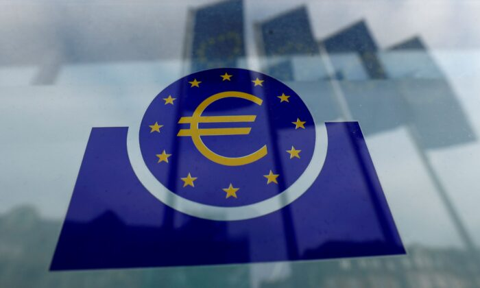 The European Central Bank (ECB) logo in Frankfurt, Germany on Jan. 23, 2020. (Ralph Orlowski/Reuters)