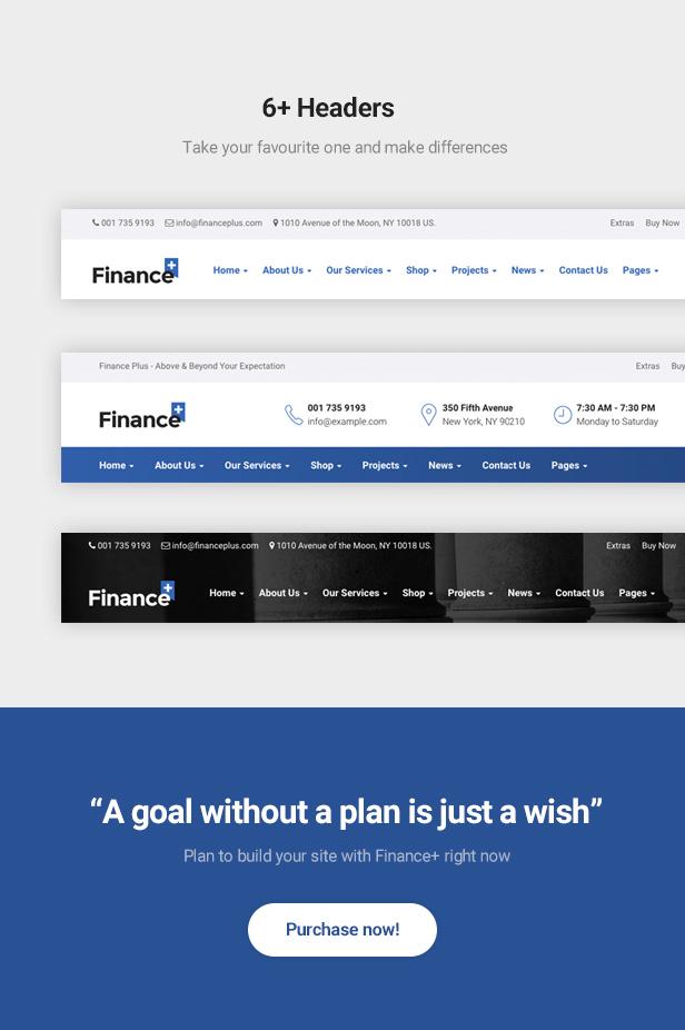 Finance & Finance Business WordPres Theme - 6+ Headers