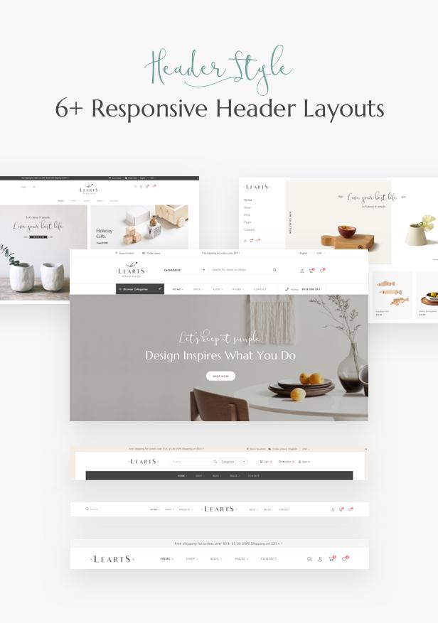 Handmade shop WooCommerce WordPress Theme - Header Layouts