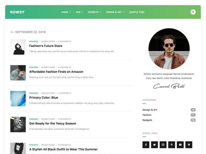 Rowsy WordPress blog theme by MondoTheme