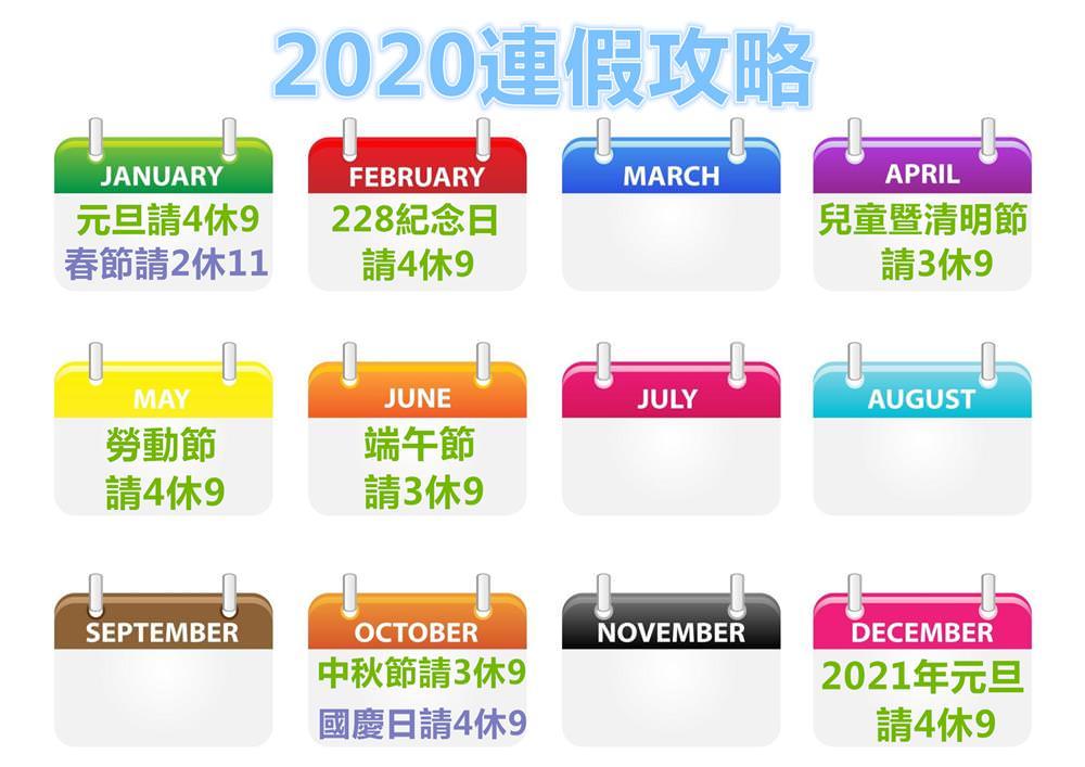 【2020連假攻略】假單畫休最多可休15天!國內及出國旅遊全方位懶人包!