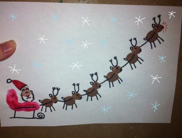 Making A Fingerprint Santas Sleigh ThriftyFun