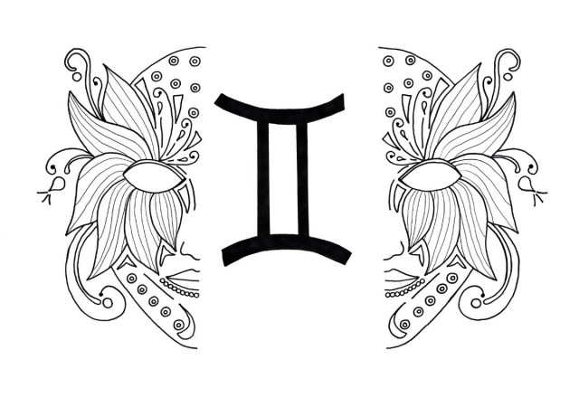 Gemini Zodiac Coloring Pages