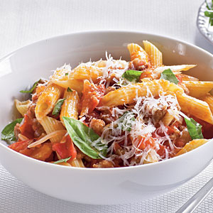 Fresh Tomato, Sausage, and Pecorino Pasta from Cooking Light