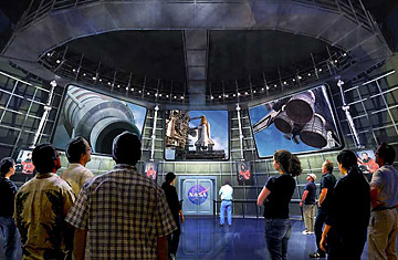 Artistic concept of the Shuttle Launch Experience simulator ride at Kennedy Space Center.