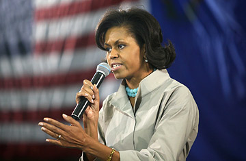 Michelle Obama speaks at Rancho High School in Las Vegas, Nevada, January 17, 2008.