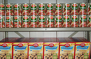 The offerings at the food bank at Michigan State University include college favorites like chocolate chip cookie mix.