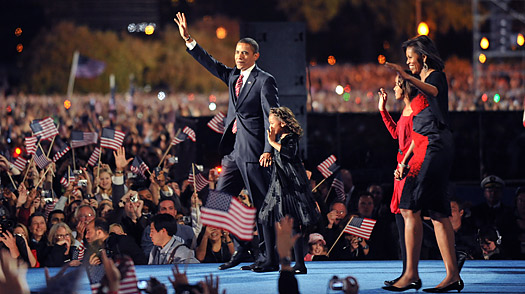 Barack Obama arrives on stage at his election night victory rally  at Grant Park in Chicago, Illinois.