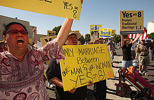 People show their support for Proposition 8 in Los Angeles