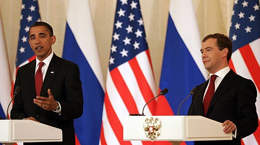 Dmitri Medvedev and Barack Obama Discuss U.S.-Russia Relations in Moscow