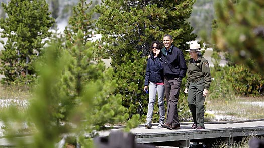 The Obamas: Stopping Traffic in Yellowstone