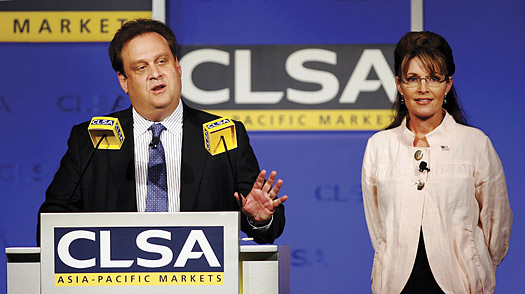 Jonathon Stone the chairman and CEO of CLSA Asia-Pacific Markets, speaks as former US vice-presidential candidate Sarah Palin looks on during the 16th annual CLSA Investors' Forum in Hong Kong