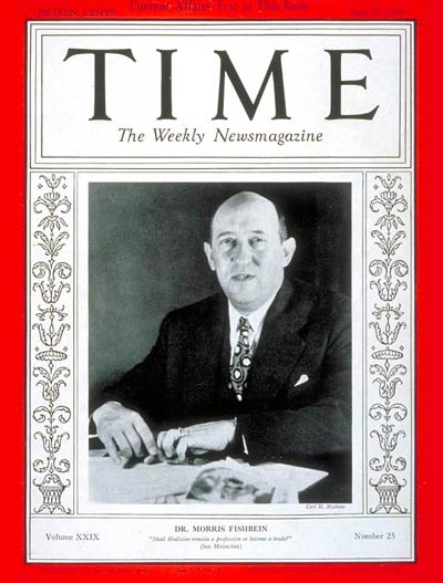 TIME Magazine Cover: Dr. Morris Fishbein -- June 21, 1937