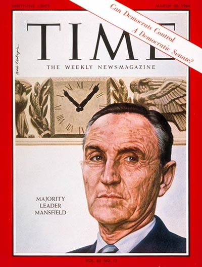 Mike Mansfield on the cover of Time Magazine, March 20, 1964. This cover story reminds us that the Democrats were a fractious majority in the 1960s, which lends an even greater patina to Mansfield's reputation as a wrangler of Senators and the Senate Majority, at one of the most productive times in Congress's history, a sharp comparison to 2015.