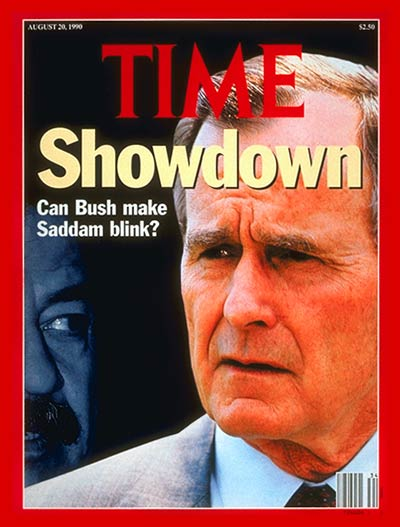 TIME Magazine Cover: Saddam Hussein and George Bush - Aug. 20, 1990 - Saddam  Hussein - George H.W. Bush - Gulf War - Iraq - Desert Storm - Middle East