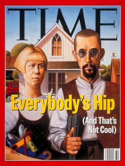 Parody of Grant Wood's painting American Gothic showing subjects with various ''hip'' accoutrements.