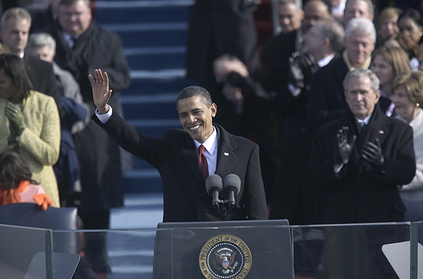 The Commander in Chief waves to the crowd before giving his Inaugural Address