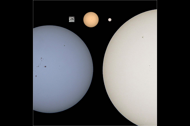 What might be visible with a hypothetical telescope capable of magnifying 14 million times (clockwise from upper left): Buzz Aldrin's footprint on the moon and the stars Sirius, Proxima Centauri, HD 209458, and Alpha Centauri.