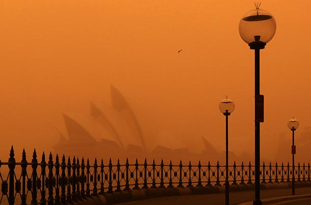 A dust storm blankets the Sydney Opera House.
