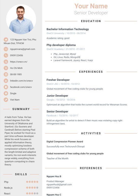 Tổng hợp các mẫu CV công nghệ thông tin: Chuẩn – Chất – Chuyên nghiệp - Ảnh 6