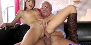 Euro Teen Makes Old Man Cum